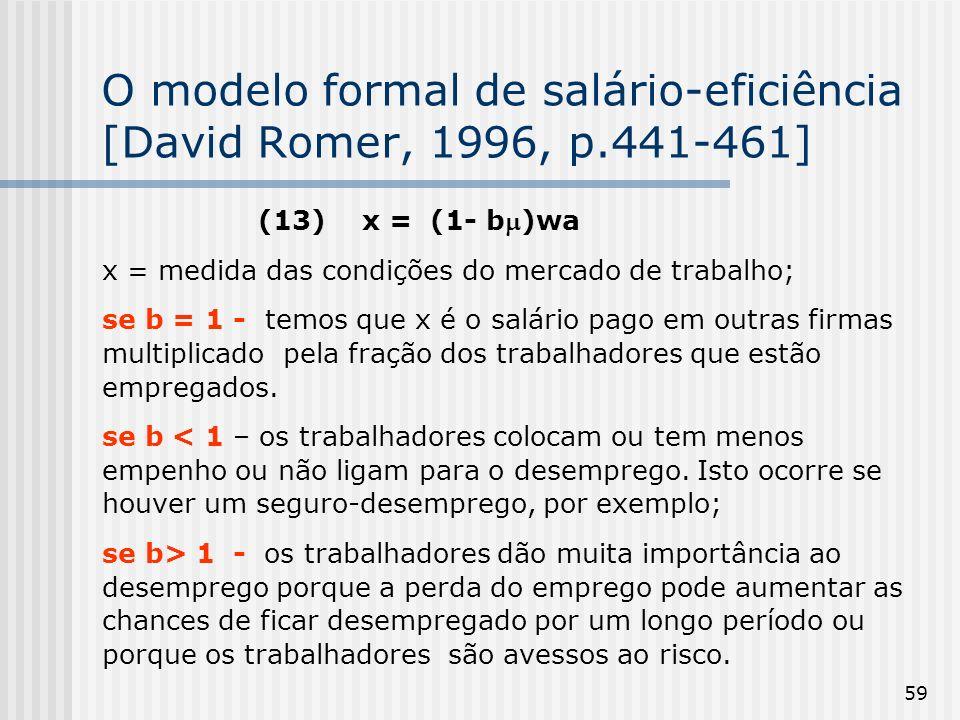 O modelo formal de salário-eficiência [David Romer, 1996, p.441-461]